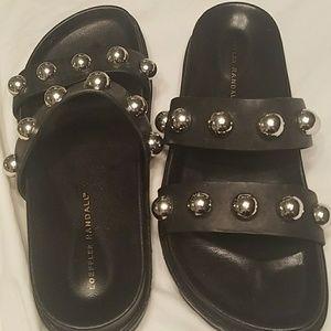 Loeffler Randall black leather silver studded slip
